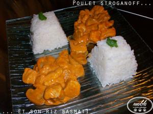 Poulet stroganoff et son riz basmati