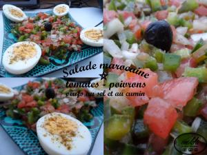 Salade marocaine | Tomates Poivrons – Oeufs au sel et au cumin