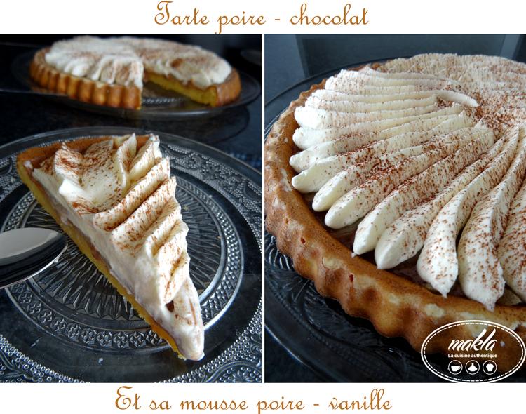 Read more about the article Tarte poire – chocolat et sa mousse poire – vanille