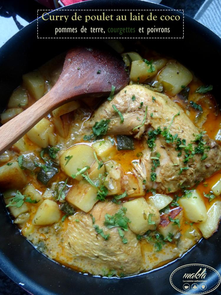 Curry de poulet au lait de coco, courgettes, poivrons verts et pommes de terre