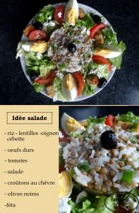 Idée salade   Riz – Lentilles – Crudités