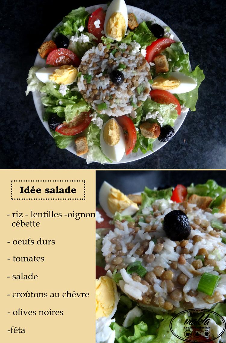 Idée salade | Riz – Lentilles – Crudités