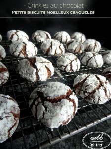 Crinkles au chocolat | Petits biscuits fondants et moelleux craquelés