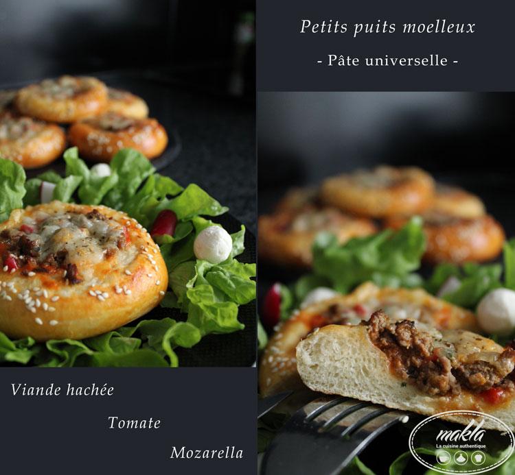 Puits à la viande hachée, mozza, tomate | Pâte universelle